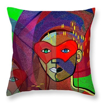394 - Challenging Woman With Mask Throw Pillow by Irmgard Schoendorf Welch