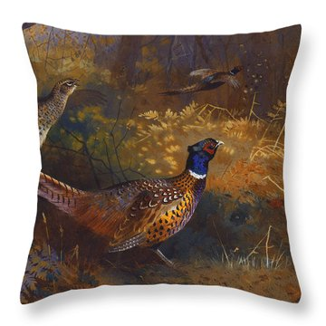 A Cock And Hen Pheasant At The Edge Of A Wood Throw Pillow by Archibald Thorburn