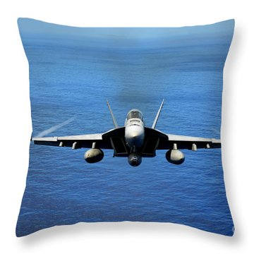 Throw Pillow featuring the photograph  A Fa-18 Hornet Demonstrates Air Power. by Paul Fearn