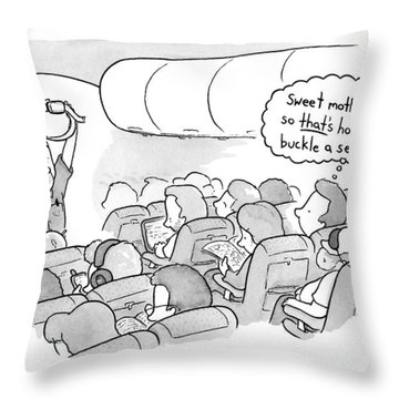 A Flight Attendant Demonstrates How To Buckle Throw Pillow