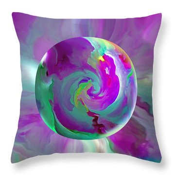 Throw Pillow featuring the painting   Perpetual Morning Glory by Robin Moline