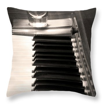 A Shot Of Bourbon Whiskey And The Bw Piano Ivory Keys In Sepia Throw Pillow