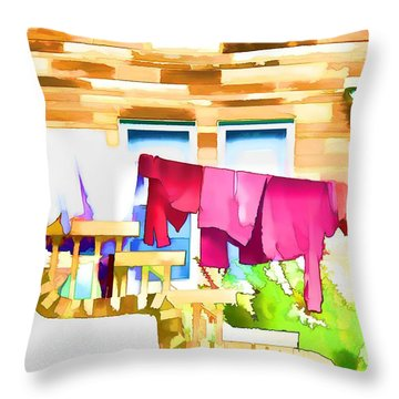 A Summer's Day - Digital Art Throw Pillow