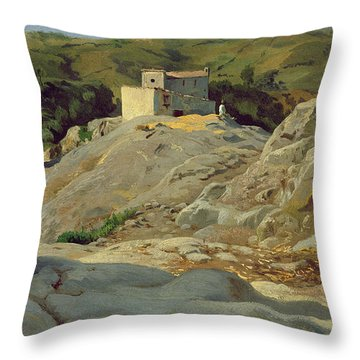 A Village In The Mountains Throw Pillow