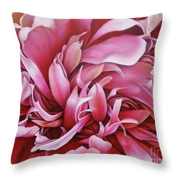 Abstract Peony Throw Pillow