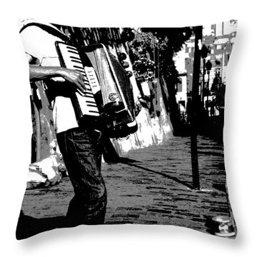 Accordioniste Throw Pillow by Jacqueline M Lewis