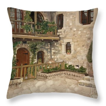 Greek Courtyard - Agiou Stefanou Monastery -balcony Throw Pillow