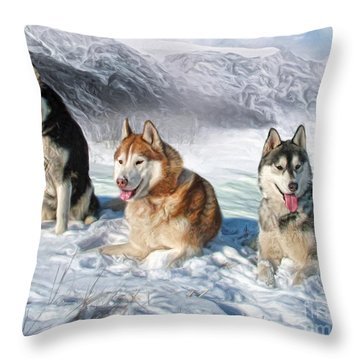 Throw Pillow featuring the digital art  Alaskan Malamute by Trudi Simmonds