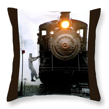 All Aboard The Number 40 At New Hope Pennsylvania Train Terminal Throw Pillow by Michael Hoard