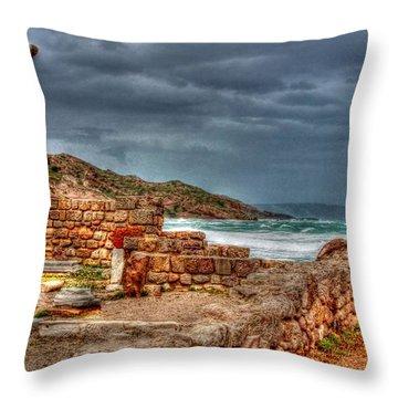 Ancient Ruins In Kefalos Kos Greece Throw Pillow