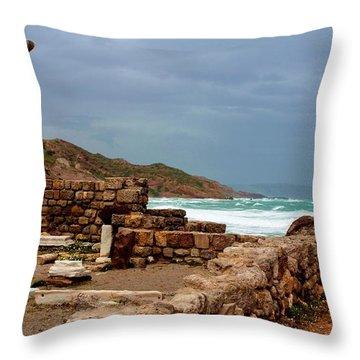 Ancient Ruins In Kefalos Kos Throw Pillow