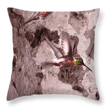 Anna's Hummingbirds Throw Pillow by Kandy Hurley