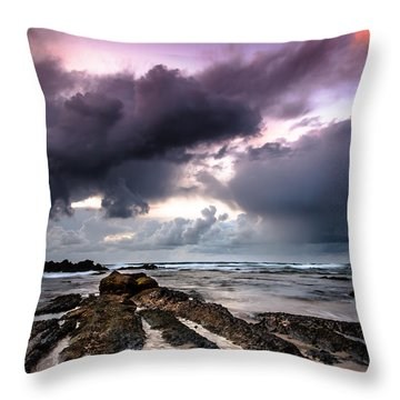 Around The World On A Boat Rock Throw Pillow by Edgar Laureano
