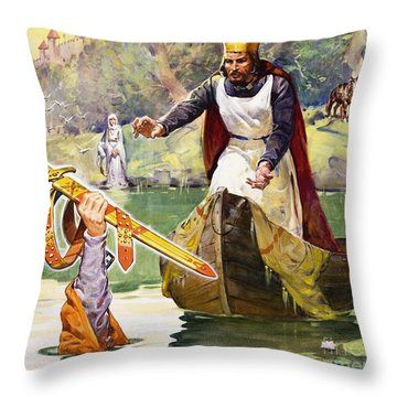Arthur And Excalibur Throw Pillow by James Edwin McConnell