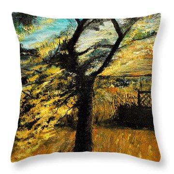 Throw Pillow featuring the painting  Autumn Tree by Maja Sokolowska