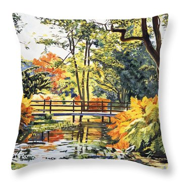 Autumn Water Bridge Throw Pillow