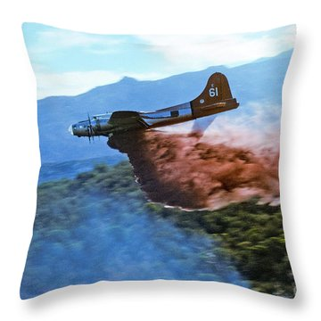B-17 Air Tanker Dropping Fire Retardant Throw Pillow by Bill Gabbert