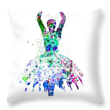 Ballerina Dancing Watercolor 4 Throw Pillow