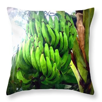 Banana Plants Throw Pillow by Lanjee Chee