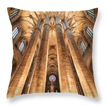 Basilica Of Santa Maria Del Mar In Barcelona Throw Pillow