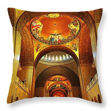 Throw Pillow featuring the photograph  Basilica Of The National Shrine Of The Immaculate Conception by John S