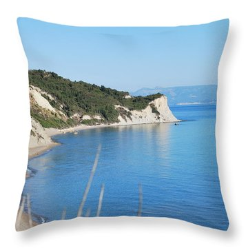 Throw Pillow featuring the photograph  Beach by George Katechis