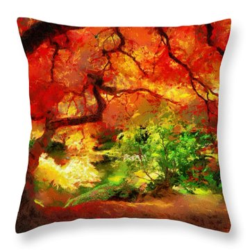 Throw Pillow featuring the painting  Beautiful Autumn by Georgi Dimitrov