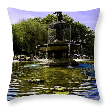 Bethesda Fountain - Central Park  Throw Pillow by Madeline Ellis