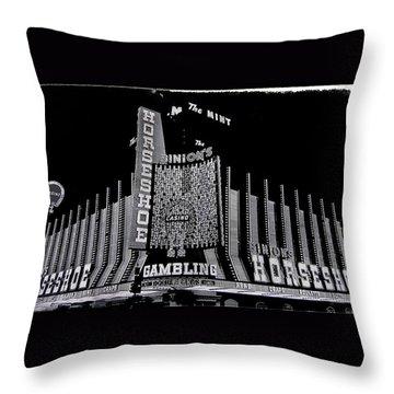 Binion's Horseshoe Casino Exterior Casino Center Las Vegas Nevada 1979-2014 Throw Pillow