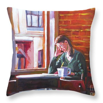 Bistro Student Throw Pillow by David Lloyd Glover