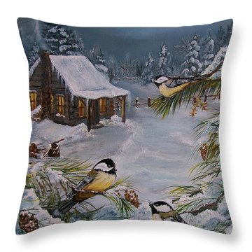 Throw Pillow featuring the painting  Black Capped   Chickadee's  by Sharon Duguay