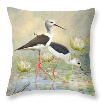 Throw Pillow featuring the digital art  Black Winged Stilt by Trudi Simmonds
