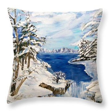 Throw Pillow featuring the painting  Blanket Of Ice by Sharon Duguay