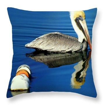 Blues Pelican Throw Pillow by Karen Wiles