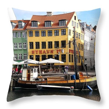 Boat In Nyhavn Throw Pillow