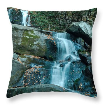 Throw Pillow featuring the photograph  Bottom Of Laurel Falls by Patrick Shupert