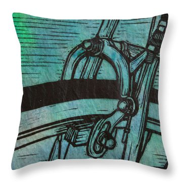Throw Pillow featuring the drawing  Brake  by William Cauthern