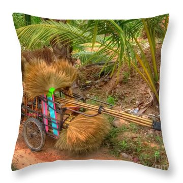 Brooms Throw Pillow by Michelle Meenawong