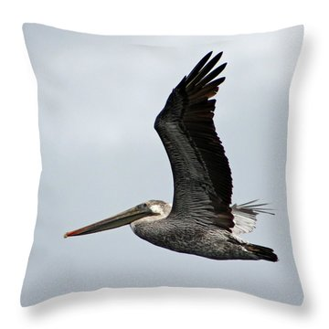 Brown Pelican In Flight Throw Pillow