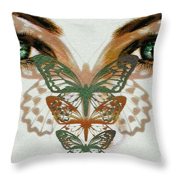 Throw Pillow featuring the digital art  Butterfly Effect by Elaine Manley