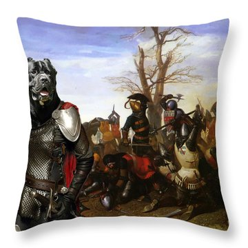 Cane Corso Art Canvas Print - Swords And Bravery Throw Pillow