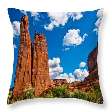 Canyon De Chelly Spider Rock Throw Pillow by Bob and Nadine Johnston