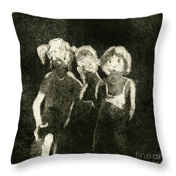 Throw Pillow featuring the painting  Children In The Shade - Kids - Boys - Girls - Darkness - Etching - Fine Art Print - Stock Image by Urft Valley Art
