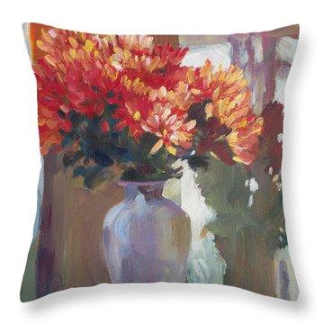 Chrysanthemums In Vase Throw Pillow