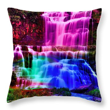 Colorful Landscape And Water Flow Throw Pillow by Marvin Blaine