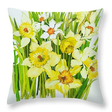 Daffodils And Narcissus Throw Pillow by Joan Thewsey