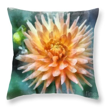 Throw Pillow featuring the digital art  Dahlia by Irina Hays