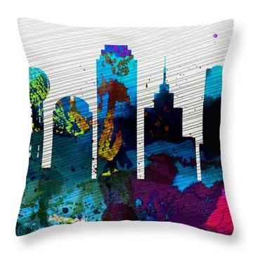 Dallas City Skyline Throw Pillow by Naxart Studio