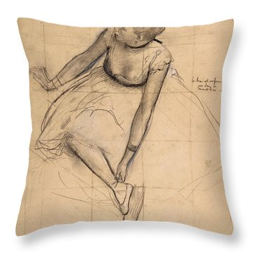 Throw Pillow featuring the drawing  Dancer Adjusting Her Slipper by Edgar Degas