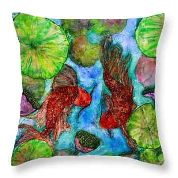 Dancing Koi Throw Pillow by Janet Immordino